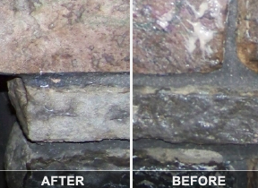 Before and After - Stone fireplace cleaning