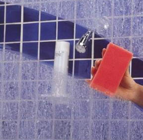clean soap scum and hard water spots on a glass shower door simply good tips. Black Bedroom Furniture Sets. Home Design Ideas
